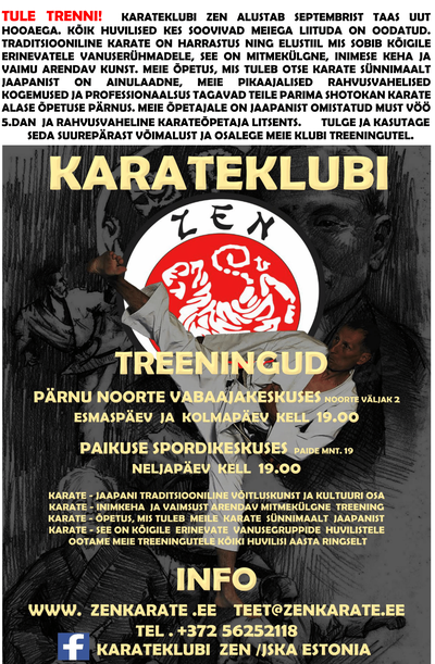 Karateklubi Zen avatud treeningud