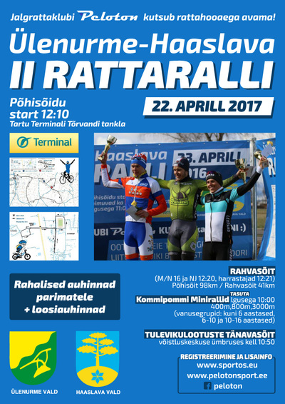 22.aprill toimub II Ülenurme-Haaslava Rattaralli