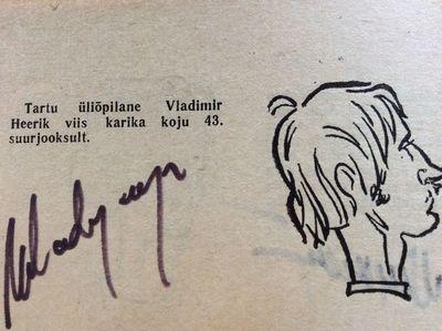 Saržimeister Evald Reier kujutas kahekordset suurjooksu võitjat Vladimir Heerikut sellisena.