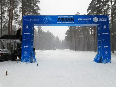 """Foto manuses. """"Töö käib! Tartu Maratoni finiš Elvas 29. jaanuaril."""" Autor: Rihard Orav"""